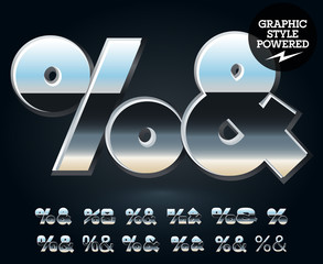 Vector set of glossy and shiny metal steel font. Symbols