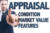 Business man pointing the text: Appraisal Description poster