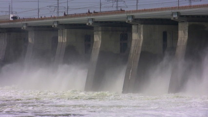 The falling water of hydroelectric power station