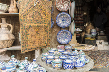 Traditional pottery shop in Fes