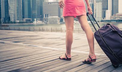 woman adventure to Singapore