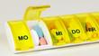 Leinwanddruck Bild - Tabletten einnehmen - Medikamente nehmen - Dosierer - dosieren