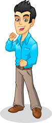 Young Manager Wearing Casual Business Attire Vector Cartoon