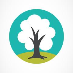 Vector logo design template. Green circle tree illustration. Gar
