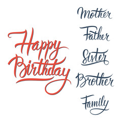 Happy Birthday lettering sign on white background.