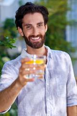 young man cocktail portrait