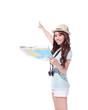Happy woman tourist