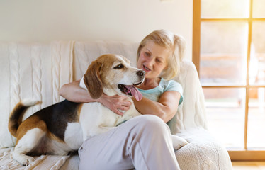 Senior woman with her dog on couch inside of her house