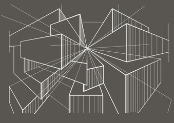 abstract architectural sketch boxes on gray background