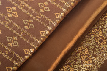 Traditional Thai fabric pattern as background
