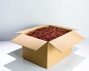 Brown raisins in the box