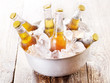 cold bottles of beer in bucket with ice - 81876962