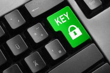 grey keyboard green enter button key lock symbol