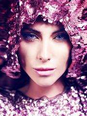 woman fusion style color face art beauty close-up portrait