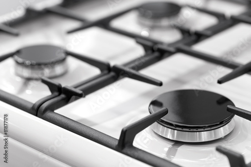 canvas print picture Fragment of a gas kitchen stove