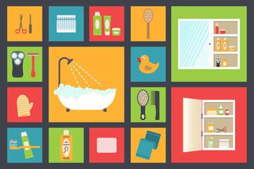 Bath supplies, hygiene accessories, cosmetics, hair care etc