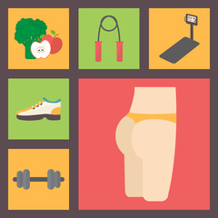 Fitness, sport equipment, caring figure, diet icons set