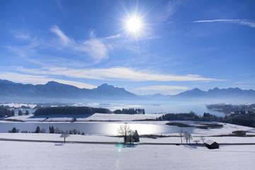Panorama Winterlandschaft im Allgäu, Bayern, am Forggensee