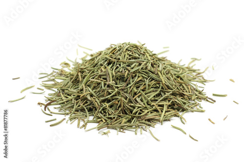 a handful of dried stems of rosemary on a white background - 81877786