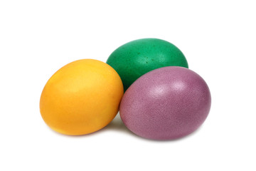 painted Easter eggs on a white background