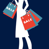 Silhouette of a woman shopping at sales.