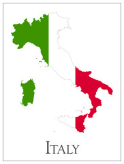 Italy flag map