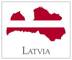 Latvia flag map
