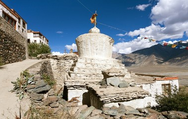 Stupas with beautiful clouds in Karsha gompa