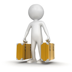 Man with Suitcases (clipping path included)
