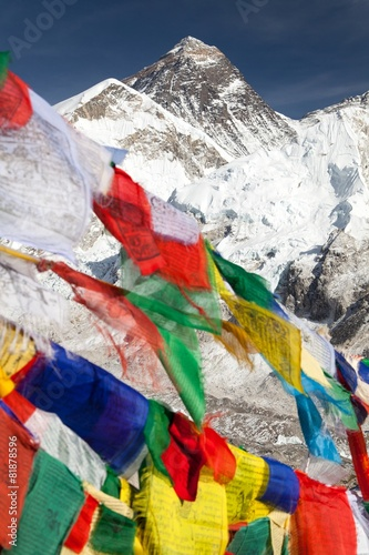 Aluminium Nepal view of Mount Everest with buddhist prayer flags