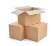 Leinwanddruck Bild - box package delivery cardboard carton stack