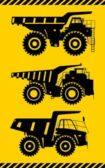 Off-highway trucks. Heavy mining trucks. Vector illustration.