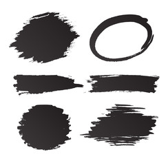 Set of grunge vector and ink strokes