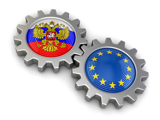 Russian and European union flags on a gears