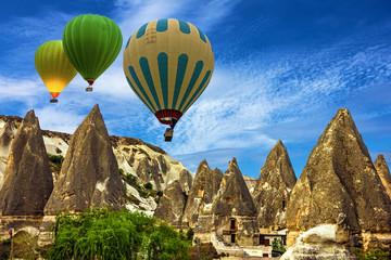 Goreme, Turkey. Mountain landscape. Hot air balloons in Cappadoc