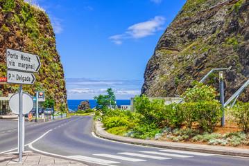 Road sign to Porto Moniz, Madeira island, Portugal