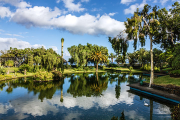 Park lake, Funchal city garden, Madeira island, Portugal