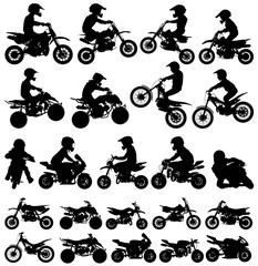 Set of vector silhouette of children riding a minibike