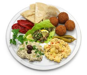 hummus, falafel, baba ghanoush, tabbouleh and pita