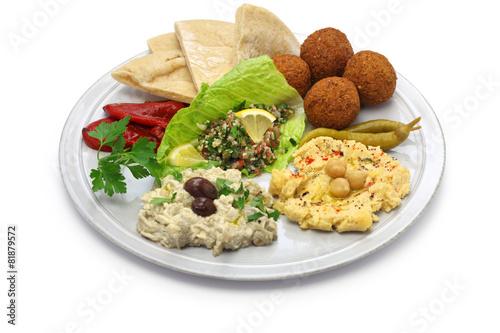hummus, falafel, baba ghanoush, tabbouleh and pita - 81879572