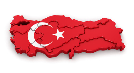 Map of Turkey. Image with clipping path.