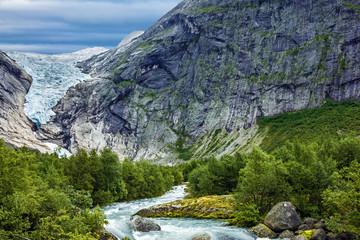 Glacier Briksdal, Norway. Natural landscape, National park Joste