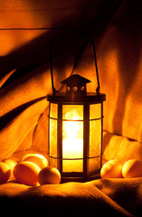 eggs and a candle lantern
