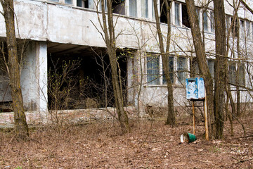 Mailbox in one of the abandoned streets in Pripyat ghost town