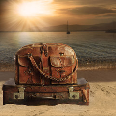baggage on a beach. Concept for travel agents