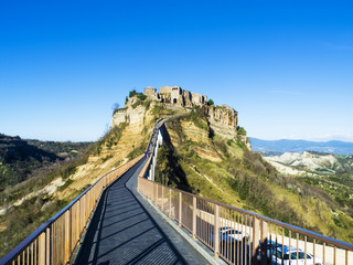 Civita di Bagnoregio view from the bridge in Viterbo, Italy