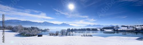 Foto op Canvas Landschappen Panorama Winterlandschaft in Bayern mit Forggensee und Alpen