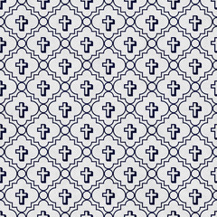 Navy Blue and White Cross Symbol Tile Pattern Repeat Background