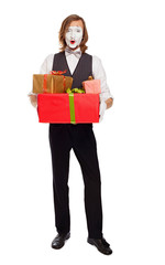 mime actor holding gift boxes