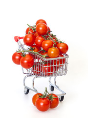 Cherry tomatoes in the store cart